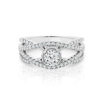 18ct White Gold Open Pave Diamond Set Ring image