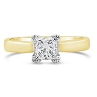18ct Yellow Gold Princess Cut Solitaire Engagement Ring image
