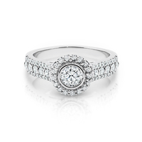 18ct White Gold Bezel Set Cluster Engagement Ring image