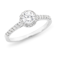 9ct White Gold Brilliant Cut Diamond Halo Ring image