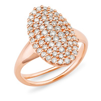 9ct Rose Gold Oval Cluster Diamond Set Ring image
