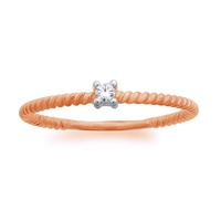 10ct Rose Gold 4 Claw Diamond On Polished Twist Band image