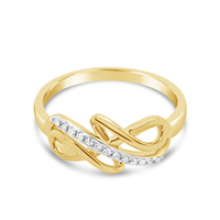 9ct Yellow Gold Diamond Pointed Twist Ring image