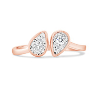 9ct Rose Gold Double Pear Shape Diamond Split Ring image