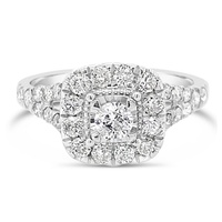 18ct White Gold Diamond Halo Engagement Ring image