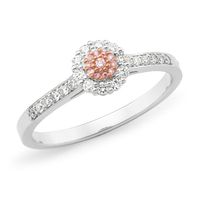 Two Tone Pink Diamond Cluster Ring image