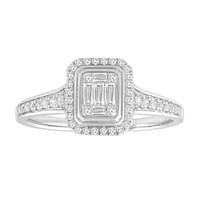 White Gold Baguette Cluster Diamond Ring image