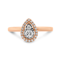 Rose Gold Teardrop & Halo Diamond Ring image