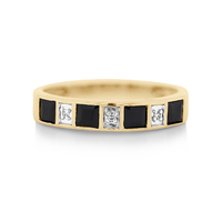 9ct Yellow Gold Sapphire & Diamond Ring image