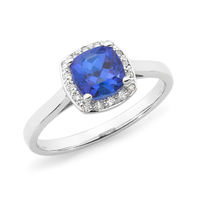 9ct White Gold Tanzanite And Diamond Ring image