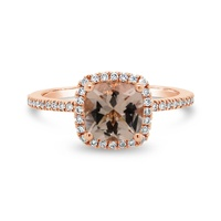 9ct Rose Gold Cushion Cut Morganite And Diamond Ring image