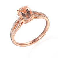 9ct Rose Gold Oval Morganite & Diamond Dress Ring image
