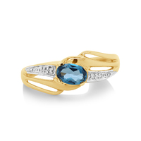 9ct Yellow Gold London Blue & Diamond Ring image