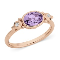 9ct Rose Gold Pink Amethyst And Diamond Ring image