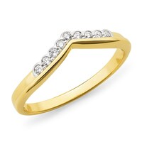 9ct Yellow Gold V Design Diamond Set Ring image