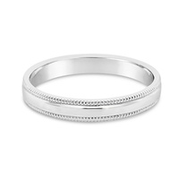 9ct White Gold 3mm Milled Edge Wedder image