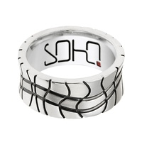 Gents Sterling Silver,Titanium And Steel Ring With Oxidised Pattern image