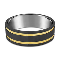 9ct Yellow Gold & Black Zirconium Wedder image