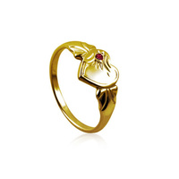 9ct Yellow Gold Created Ruby Heart Signet Ring image