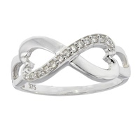 9ct White Gold Cz Infinity Ring Split Band image