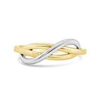 9ct Yellow And White Gold Interlocking Swirl Ring image