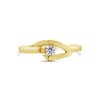 9ct Yellow Gold Polished CZ Sweep Ring image