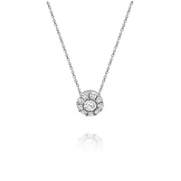 18ct White Gold Diamond Cluster Slider Necklace image