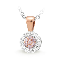 9ct Rose Gold White & Pink Diamond Pendant image