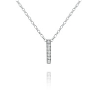 9ct White Gold Diamond Set Small Bar Pendant image