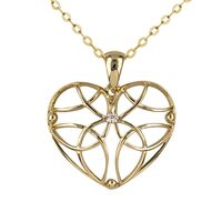 9ct Yellow Gold Diamond Set Filigree heart Pendant image