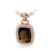 9ct Rose Gold Smokey Quartz & Diamond Pendant image