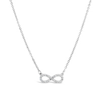 9ct White Gold Infinity Cubic Zirconia Set Necklace image