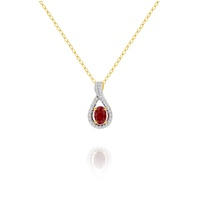 9ct Yellow Gold Ruby and Diamond Pendant image