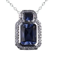 9ct White Gold Created Ceylon Sapphire And Diamond Pendant image