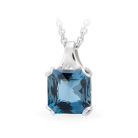 9ct White Gold Emerald Cut London Blue Topaz Pendant image
