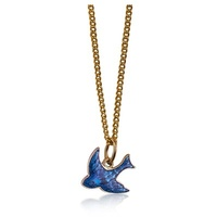 9ct Yellow Gold Enamel Bluebird Pendant on Gold Plated Chain image
