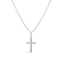 9ct White Gold Polished And Diamond Cut Cross Pendant image