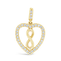 9ct Yellow Gold Cz Set Heart And Infinity Pendant image