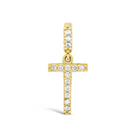 9ct Yellow Gold Cz Initial T Pendant image