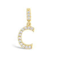 9ct Yellow Gold Cz Set Initial C Pendant image