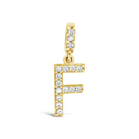 9Ct Yellow Gold Cz Set Initial F Pendant image