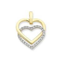 9ct Yellow & White Gold Double Heart Necklace image