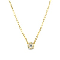 9ct Yellow Gold CZ Necklace With Halo  image