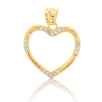 9ct Yellow Gold Open Cz Heart Pendant image