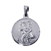 9ct White Gold St Christopher Medallion image