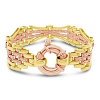 9ct Rose & Yellow Gold Tapered Gate Bracelet image