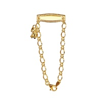 9ct Yellow Gold Baby ID Bracelet With Hanging Teddy image