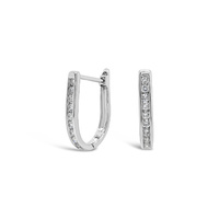 9ct White Gold Diamond Set Oval Huggie Earrings image