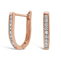 9ct Rose Gold Diamond Set Oval Huggie Earrings image