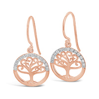 9ct Rose Gold Diamond Set Tree Of Life Earrings image